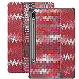 Funda para Galaxy Tab S7 Funda Delgada y Liviana con Soporte para Tableta Samsung Galaxy Tab S7 de 11 Pulgadas Sm-t870 Sm-t875 Sm-t878 2020 Release, Set Abstractions Picture Three Background Rojo