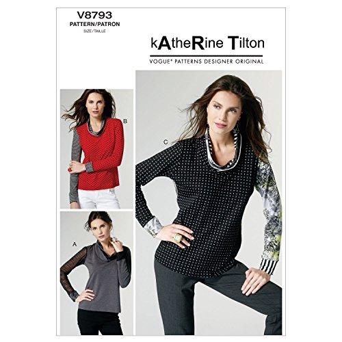 VOGUE PATTERNS V8793 - Patrones de Costura para Camisetas de Mujer (Tallas XS, S y M)