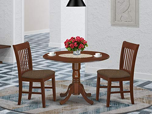 East West Furniture DLNO3-MAH-C 3-Pc kitchen table set Mahogany finish- Two 9-inch Drops Leave and Pedestal Legs dining room table & 2 Slatted Back kitchen chairs