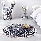 ZMIN Runde Bettwäsche Aus Baumwolle Vintage Teppiche, Hand-Knitted Quasten Waschbar Teppich Wohnzimmer Schlafzimmer Bett Decke Kaffeetisch Stock Pad-tibetisches Blau Durchmesser 90cm (35inch)