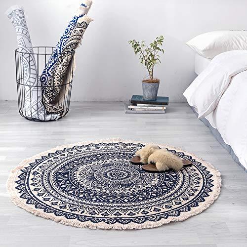ZMIN Rond beddengoed van katoen, vintage tapijt, met de hand gesneden, kwasten, wasbaar, voor woonkamer, slaapkamer, bed, koffietafel, stokpad