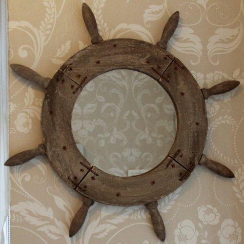 Melody Maison Specchio da Parete in Legno Navi Helm