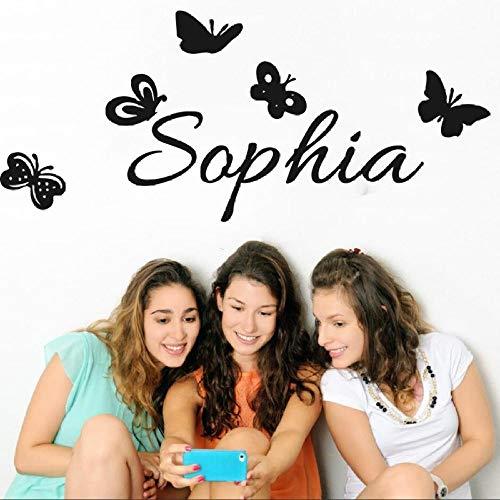 cooldeerydm Benutzerdefinierte Mädchen Name Schmetterling Wandaufkleber Vinyl Applique entfernbare Wandbild Schlafzimmer Art Deco Poster 584