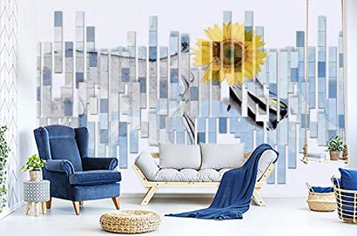 SKTYEE 3D Mosaic Tile Sunflower Wall Paper mural Wall Print Decal Wall Murals, 250x175 cm (98.4 by 68.9 in)