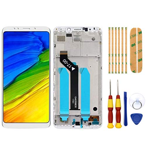 AiBaoQi For 5.99'' Xiaomi Redmi 5 Plus LCD&Touch Screen Digitizer with Frame Assembly LCD Screen Display replacment Tools (White with Frame)