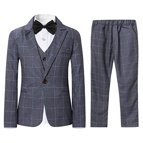 SWOTGdoby Boys Plaid Suits 3 Pieces Suit Set Blazer Vest Pants Formal 7 Colors for Wedding Party Gray