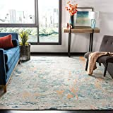 Safavieh Madison Collection MAD457B Modern Abstract Non-Shedding Stain Resistant Living Room Bedroom Area Rug, 8' x 10', Light Blue / Beige