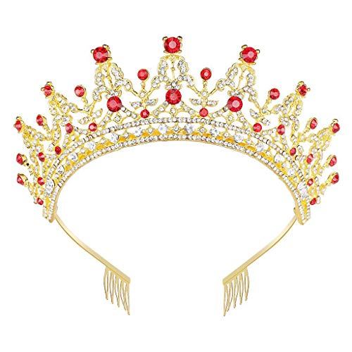 Qiman Tiara de princesa de lujo con peinetas de cristal sintético con...