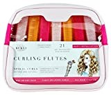 Curling Flutes, Self-Grip Hair Rollers & Nylon Sleeves for Spiral Curls, 21 Count, Deluxe PU Leather Bag + Canvas Pouch