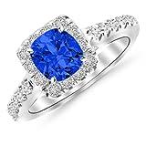 1.75 Ctw 14K White Gold Cushion Square Halo Diamond Engagement Ring w/ 1 Carat Blue Sapphire
