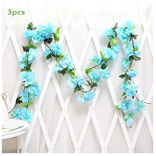 3Pcs Artificial Cherry Blossoms Hanging Rattan Garland Wreath Fresh Lovely of Fake Flower Plant Flower Vine Leaf for Home Party Garden Fence Christmas Wedding Decoration 220cm,A