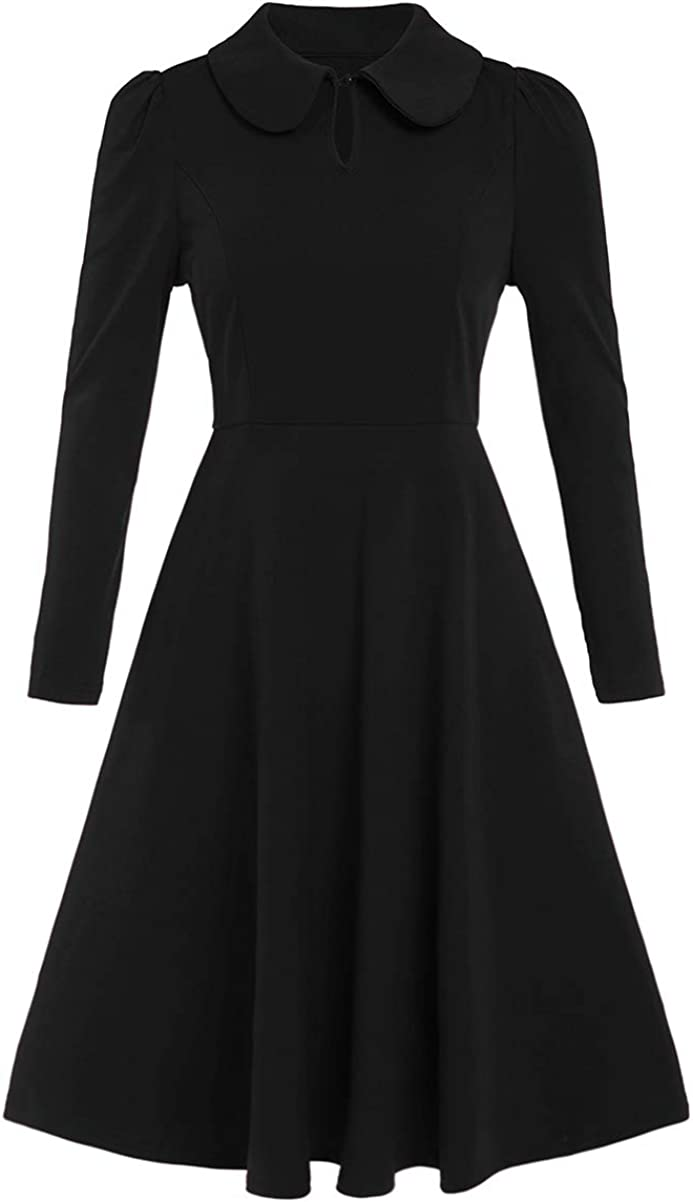 Romwe Women's Vintage 1950s Retro Collared Long Sleeve Fit and Flare Swing Party Dress