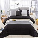 "Stripe Comforter Set Queen, Black Grey Striped Patchwork Down Alternative Comforter for Queen Bed,3 Pieces(1 Comforter+2 Pillowcases), Soft Microfiber Bedding Duvet Insert 90""×90"""