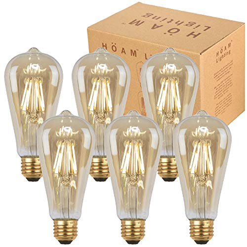 HOAM Lighting 6 Pack Edison Bulbs, Dimmable LED Filament, Antique Style, Amber Glass, 8W LED 75W Incandescent Equivalent 4000K Warm White Color Temperature, ST18 ST64 E26 E27 Screw Cap 120V