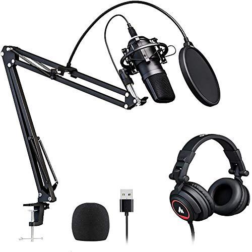 JKLL USB Kondensator Computer Mikrofon mit verstellbarem Standfuß, einfaches Plug & Play Design und Mute Switch - ideal für Skype, Konferenzgespräche, Twitch, YouTube, Discord und Recording