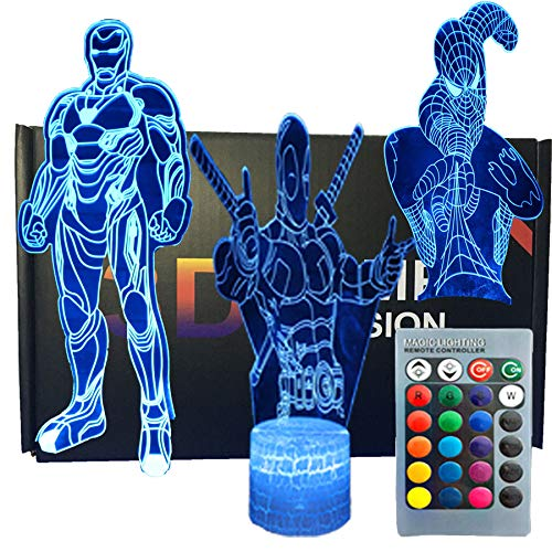 SNOMYRS 3D Illusion Avengers Super Hero Nachtlicht Lampe Drei Muster Iron Man/Spiderman/Deadpool 16 Farben wechseln mit Smart Touch und Fernbedienung für Damen Herren Mädchen Jungen – 3 Stück
