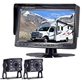Rohent HD 720P Dual Backup Camera Hitch Rear View Camera for Bus Trucks Trailers RVs Campers 7''Monitor Highway Monitoring System IP69K Waterproof Super Night Vision Driving/Reversing Use