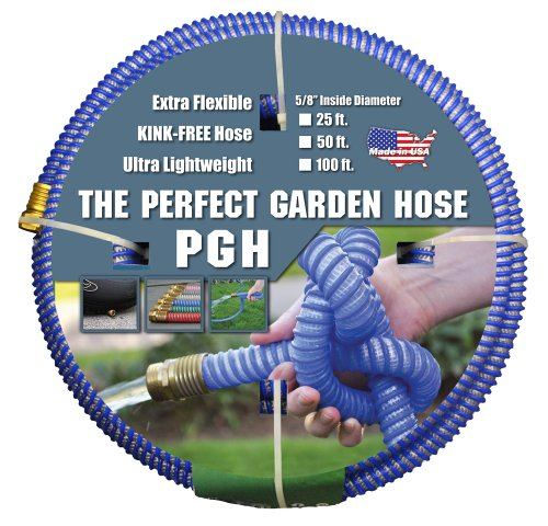 """Tuff-Guard - 001-0106-0600 The Perfect Garden Hose, Kink Proof Garden Hose Assembly, Blue, 5/8"""" Male x Female GHT Connection, 5/8"""" ID, 50 Foot Length"""