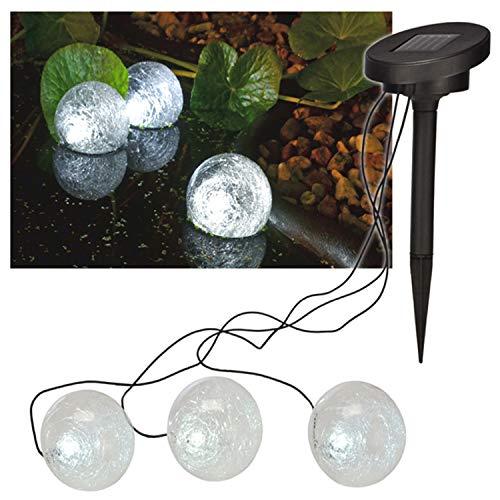 Mojawo 3'er Set schwimmende Solar Teichlampe PoollampeSolarlampe Teichleuchtung Teichkugel 9cm mit Dämmerungssensor