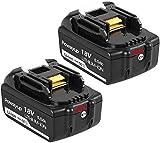 2* Powayup BL1850B 18V 5.0Ah Reemplazo Batería para BL1850 BL1850B BL1840 BL1840B BL1830B BL1815...