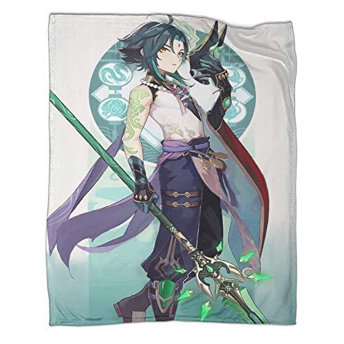 Juego de ropa de cama de Genshin Impact Games Roles Xiao, moderno y moderno para todas las estaciones, juego de ropa de cama de 80 x 100 cm