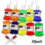 Halloween Blood IV Bags for Energy Drinks Container,Juice Pouch Prop Cups For Zombie Theme Party supplies decorations,Reusable Drink Pouch Dispenser Bags for party Costume Props (20pcs Bag, 20 Label, 2 Syringes)