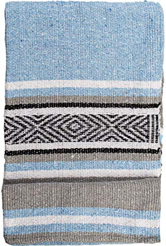 threads west Echte mexikanische handgewebte Decke, Premium-große schwere Falsa-Decke, Serape- & Yoga-Decke, Stranddecke, Überwurf, Picknickdecke (traditionell, Cielo)