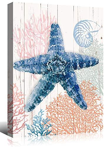 Mooflapha Starfish Wall Decor Art Canvas Print Painting 12'' x 16'' Rustic Coastal Cottage Ocean Nautical Themed Poster Decoration Artwork for Home Bedroom Bathroom 1 Panel
