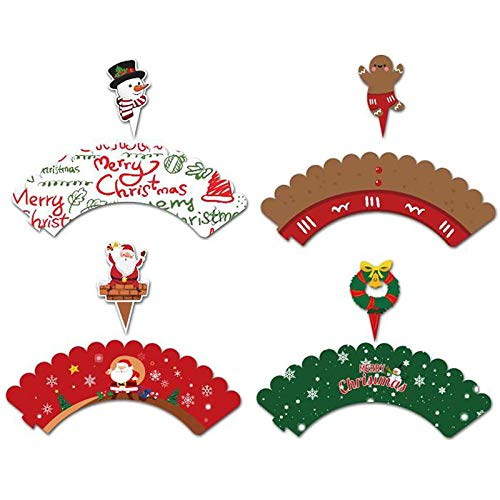 GAKIN Christmas Cupcake Wrappers Toppers Party Supplies Favors Snowman Santa 24 Pcs