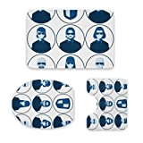 Nongmei Juego de tapetes de baño, Set of Flat Avatars for The Security Agency. Male and Female Silhouettes of Bodyguard People for User Profile Picture. Detective Agents Men and Women. Raster
