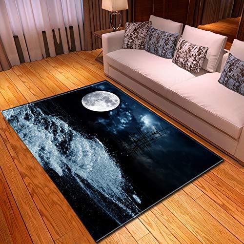 DRTWE Gran Terciopelo 3D impresión Alfombra Noche patrón de mar Antideslizante Niños juegan Alfombra Moderna Sala de Estar Cama Piso Pad casa decoración,120 * 160cm