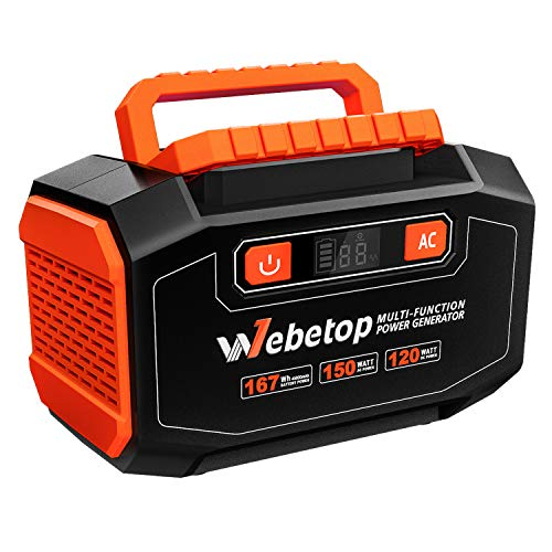 Webetop 167Wh 45000mAh Portable Generator Inverter Battery 150W Camping Emergency Home Use UPS Power Source Charged Solar Panel/Wall Car 110V AC Outlet, 3 DC 12V, 2 USB Port