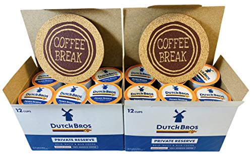 Dutch Bros Coffee 24 Individual Single Serve DB Cups (Medium Roast) Includes 2 Coffee Break Branded Cork Coasters