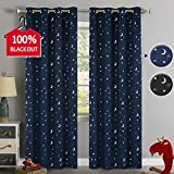 100% Blackout Curtains Starry Night Twinkle Moon and Star Pattern Galaxy Room Decor Thermal Insulated Nursery Window Drape with Grommet for Kid's Room Sold 2 Panels (Each 52' x 84', Navy)
