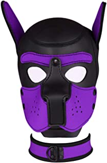 Unisex Neoprene Puppy Hood with Collar, Full Face Costume Dog Head Mask Cosplay Mask for Halloween