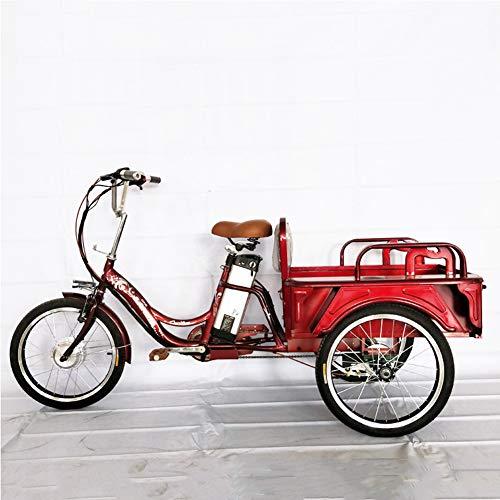 Triciclo eléctrico, triciclo de potencia para adultos Bicicleta de asistencia para pies Coche de doble uso con luz LED y cesta de compras para ancianos, adolescentes, damas, transporte al jardín,Rojo