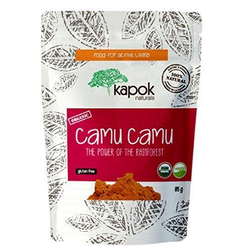 Kapok Naturals Camu Camu Polvo orgánico cruda alimentos integrales Vitamina C 3 oz. Alto en antioxidantes y fortalece el sistema inmunológico. Nuestro Camu Berry tiene 9 veces la vitamina C de un naranja. ¡Disfrútalo!