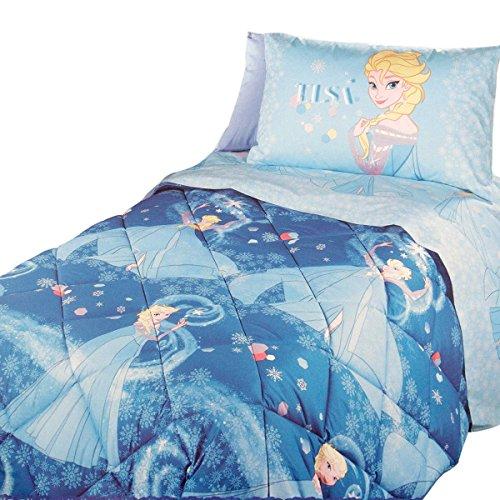 Trapunta invernale singola Caleffi, blu, con il disegno di Elsa di Frozen, tessuto in microfibra, 170x 265cm