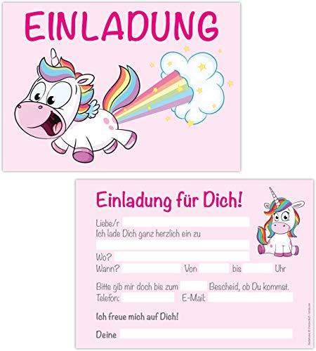 15er Kartenset Einladungskarten Kindergeburtstag Mädchen, Unicorn Geburtstags-Party, Einladungen Einhorn, Regenbogen