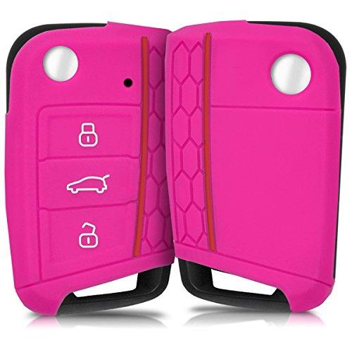 kwmobile Autoschlüssel Hülle kompatibel mit VW Golf 7 MK7 3-Tasten Autoschlüssel - Silikon Schutzhülle Schlüsselhülle Cover in Pink