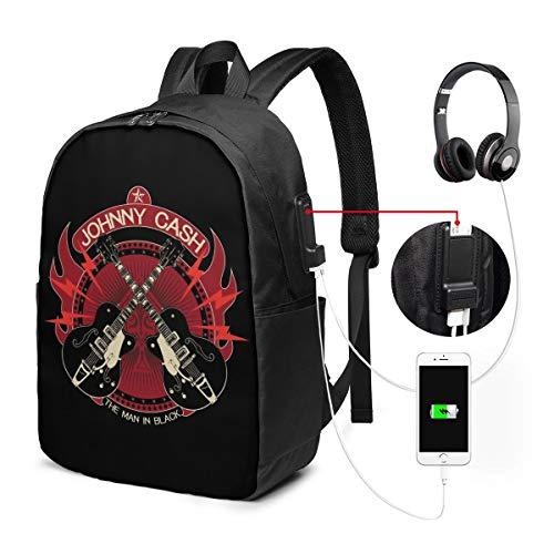 バックパック17インチベルト バックパック ビジネスバックパック ランドセル 登山バッグ ジョニーキャッシュ ギター 充電ポート ヘッドフォンポート ラベル 防水 旅行 ユニセックス 大容量 ストレージレジャー