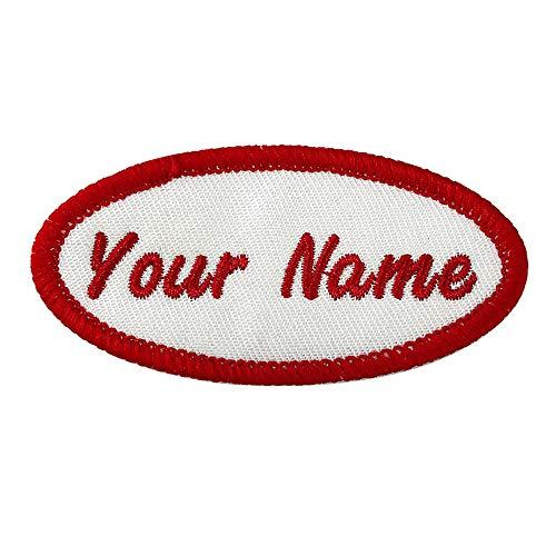 Parche de nombre ovalado personalizado, etiqueta de nombre bordada personalizada de 2 piezas para coser / planchar para ropa, chaquetas, uniforme, camisa de trabajo