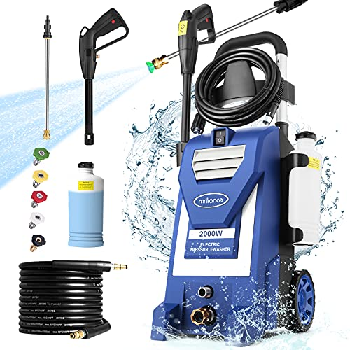 mrliance 3800PSI Pressure Washer 2000W 3.0GPM Electric Power Washer with 5 Nozzles, Detergent Tank, 35ft Power Cord, Metal Connector, for Cars Fence Patio Deck Cleaning (Blue)