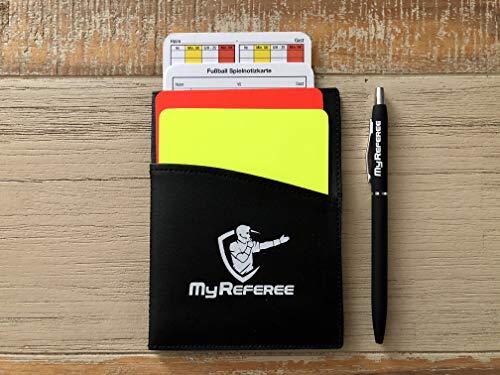 My Referee Schiedsrichterset Mini Fußball inkl. Spielnotizkarten, Kugelschreiber, Disziplinarkarten | Schiedsrichter-Set | Schiri