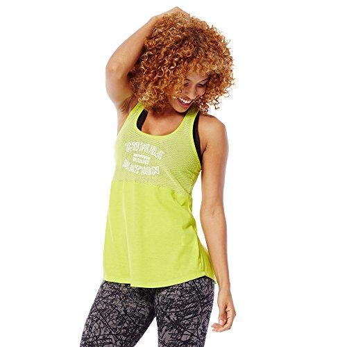 Zumba Fitness Dance Atlético Estampado Fitness Camiseta Mujer Sueltas de Entrenamiento Top Deportivo Loose Tank, Green Zumba, XX-Large