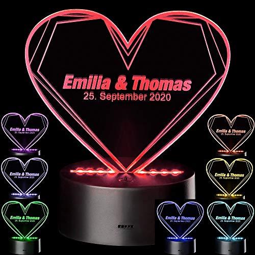 Personalisierte LED Motivlampe • 3D Herzleuchte mit Namen • Geschenkideen zur Hochzeit für Paare Geschenk Valentinstag Verlobung Hochzeitstag (Herzleuchte mit Namen)