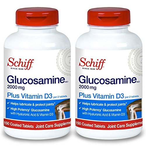 Schiff Glucosamine 2000mg with Vitamin D3 and Hyaluronic Acid Joint Supplement, 150 ct (Pack of 2)