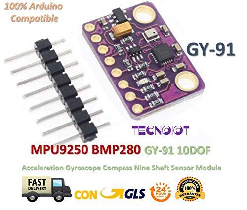 TECNOIOT GY-91 MPU9250 BMP280 10DOF Acceleration Gyroscope Compass Nine Shaft Sensor | Kompass-Sensor-Modul neun Gyroskop Gy-91 Beschleunigung 10Dof Mpu9250 + Bmp280 für Arduino