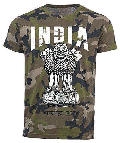 T-Shirt Indien Camouflage Army WM 2018 .- Vintage Destroy Wappen D01 (2XL)