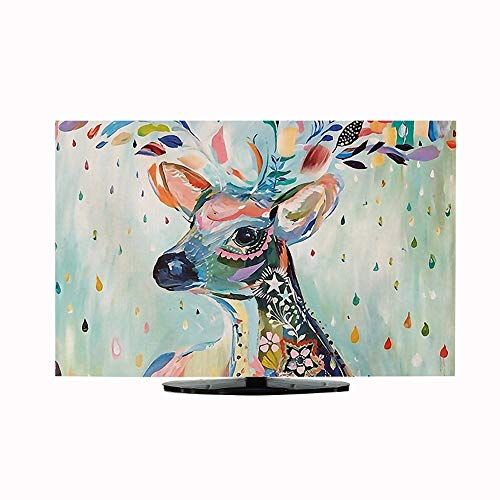 Hand-Painted TV Cover Cloth, elk Hanging LCD TV Dust Cover Cotton Linen Material Waterproof Sunscreen for 32-60 Inch TV Cover (Size : 60in)